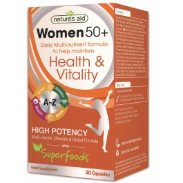 Natures Aid Women 50+ Multi-Vitamins & Minerals with Superfoods, 30 capusles