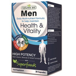 Natures Aid Men's Multi-Vitamins & Minerals with Superfoods, 30 capsules