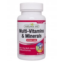 Natures Aid Multi-vitamini in minerali brez železa, 60 tablet
