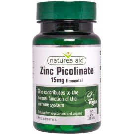Natures Aid Zinc Picolinate 15mg elemental, 30 tablets