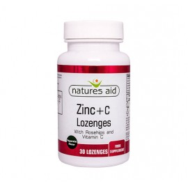 Natures Aid Zinc + Vitamin C Lozenges with Rosehip, 30 Lozenges