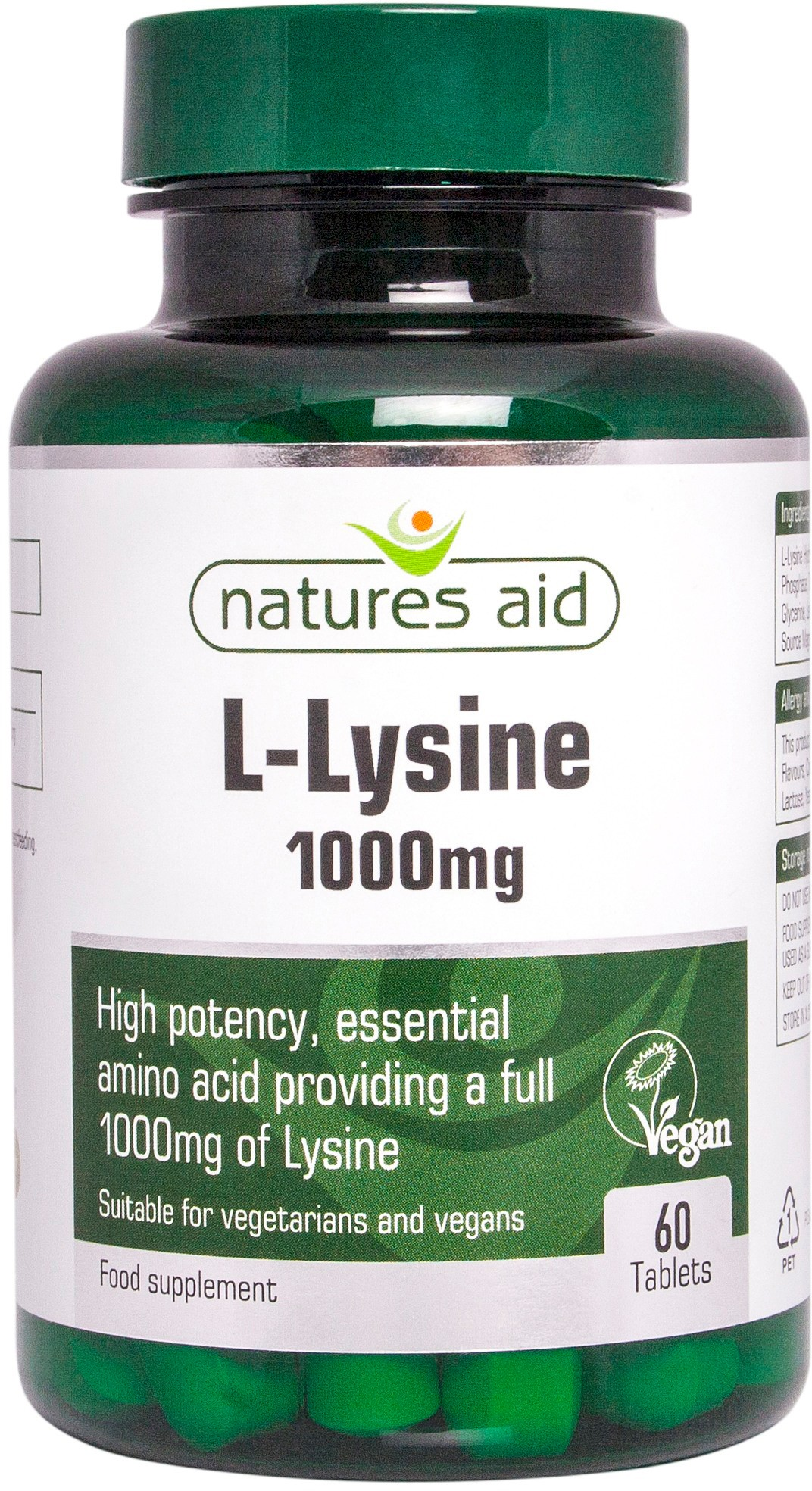 Natures Aid L-Lysine 1000mg, 60 tablets